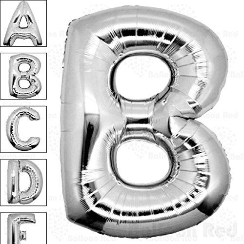 40 Inch Giant Jumbo Helium Foil Mylar Balloons (Premium Quality), Glossy Silver, Letter B