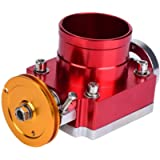 Replacement Throttle Body,65mm CNC Aluminum Universal High Flow Intake Manifold Throttle Body(Red)