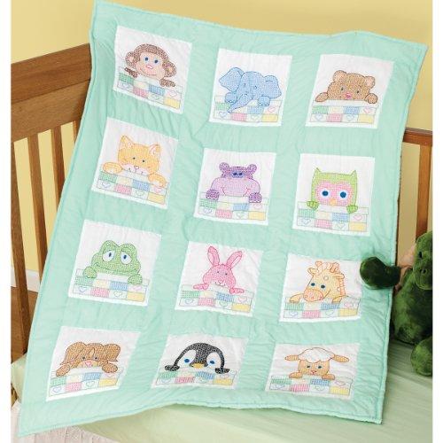 (Brand New Stamped White Nursery Quilt Blocks 9