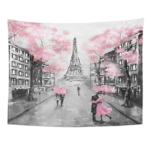 TOMPOP Tapestry Oil Painting Paris European City Landscape France Eiffel Tower Black White Pink Modern Couple Under Home Decor Wall Hanging Living Room Bedroom Dorm 60x80 inches ()