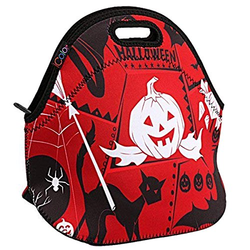 Pumpkin iColor Neoprene Lunch Bag— Halloween Insulated Lunchbox— Thermal Lunch Tote Bag—Water Resistant Lunch Box & Food Container Great for Travel, Work,Adult, Kids — Food Storage Cooler -