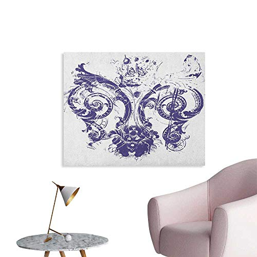 Anzhutwelve Fleur De Lis Photographic Wallpaper Digital Grunge Lily Emperor Flag Victorian Kingdom Imperial Theme Print Funny Poster Purple White W36 xL32 ()