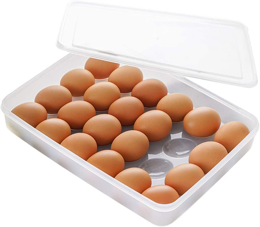 COOLFUNLIFE Egg Holder for Refrigerator with Lid, Covered Eggs Tray Carrier Food Storage Containers, Plastic Stackable Organizer Case Protect and Keep Fresh for Fridge , Stores 24 eggs (Pack of 1)