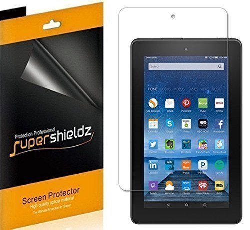 "[3-Pack] Supershieldz- Anti-Bubble HD Clear Screen Protector For Amazon Fire 7"" 7 inch Tablet [2015 Released] + Lifetime Replacements Warranty - Retail Packaging"