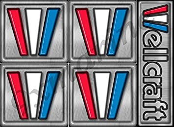 4 Wellcraft Marine Vinyl decals 2 square /& 2 chrome lettering 6 x 1 inch