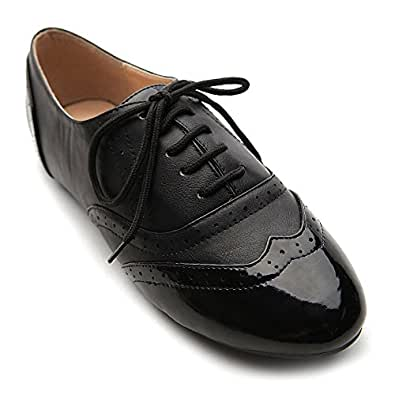 Ollio Women's Shoe Classics Lace Up Dress Low Flat Heel Multi Color Oxford(6 B(M) US, Black-Black)