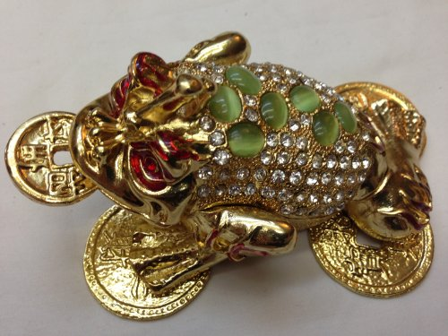 Gorgeous Large Money Frog Jewelled Trinket Box Jewelry Box with Inlaid Crystal, Three Legged Toad Money Frog Chan Chu Symbol of Prosperity in Feng (Prosperity Frog)