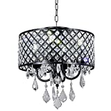 Cheap Broadway Black Classic Crystal Chandeliers Modern Lamps Pendant Light Ceiling Flush Mount Fixture for Kitchen BL-AJA/BK4 W14 X H14 Inch