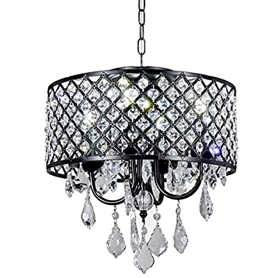 "New Galaxy Lighting 4-Light Antique Black Round Metal Shade Crystal Chandelier Pendant Hanging Ceiling Fixture - Contemporary style Pendant chandelier with Crystal Beaded Drum Shade Materials: Metal, crystal; Finish: Antique Black Fixture dimensions:14"" Diameter x 13"" high or 18"" high with crystal hanging; Chain: 33"", Total height: 50"" - kitchen-dining-room-decor, kitchen-dining-room, chandeliers-lighting - 51%2B77ZOsFcL. SS400  -"