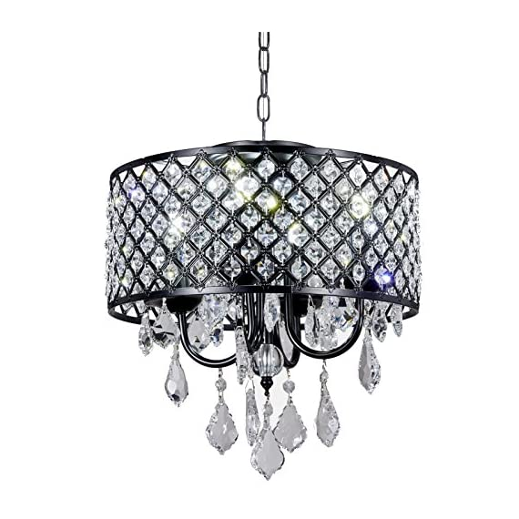 "New Galaxy Lighting 4-Light Antique Black Round Metal Shade Crystal Chandelier Pendant Hanging Ceiling Fixture - Contemporary style Pendant chandelier with Crystal Beaded Drum Shade Materials: Metal, crystal; Finish: Antique Black Fixture dimensions:14"" Diameter x 13"" high or 18"" high with crystal hanging; Chain: 33"", Total height: 50"" - kitchen-dining-room-decor, kitchen-dining-room, chandeliers-lighting - 51%2B77ZOsFcL. SS570  -"