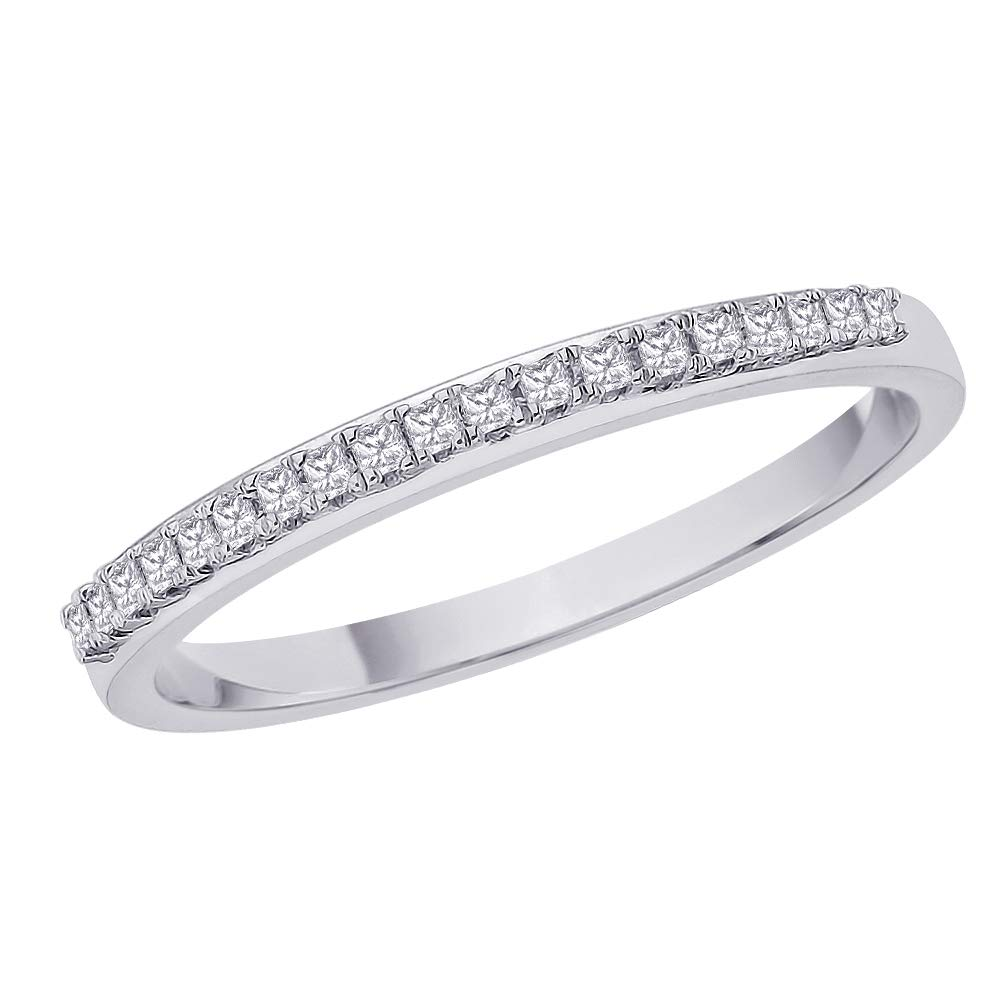 Princess Cut Diamond Anniversary Wedding Band Stackable Ring in 10K White Gold (1/10 cttw, H-I, I1) (Size-6.75)