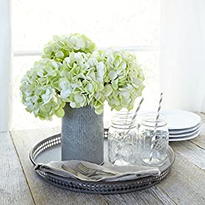 Butterfly Craze Artificial Hydrangea Silk Flowers for Wedding Bouquet, Flower Arrangements - Green Color, 3 Stems Per Bundle 15