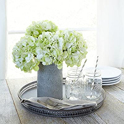 Butterfly Craze Artificial Hydrangea Silk Flowers for Wedding Bouquet, Flower Arrangements - Green Color, 3 Stems Per Bundle - ✔️ GRACE YOUR WEDDING WITH DELICATE, GREEN HYDRANGEA FAKE FLOWERS: Combine these blooming beauties into lovely floral bouquets for the bride and her court. Use fake flowers for decoration in vases for the sign-in table, gift table and as centerpieces at the reception. You can mix and match other artificial flowers or add a few real Hydrangeas to the bouquets and arrangements to add a heavenly fragrance to the festivities. Create a green photo album with silk flowers on the cover. ✔️ FESTIVE DÉCOR FOR EVENTS AND PARTIES, ALSO GET WELL GIFTING: Utilize these pretty flower bunch as a decor for the party area. Since they are fake flower arrangements, they will never wilt. Drop a couple of stems in a vase to give to a friend or relative recuperating in the hospital. ✔️ GENTLE GREEN HYDRANGEAS ADD A PEACEFUL FEELING TO HOME AND OFFICE: Place a couple of stems in a vase and use them as a centerpiece on the dining room table or the conference table at the office. Silk floral arrangements are great additions when staging a home for sale. - vases, kitchen-dining-room-decor, kitchen-dining-room - 51%2B77t640 L. SS400  -