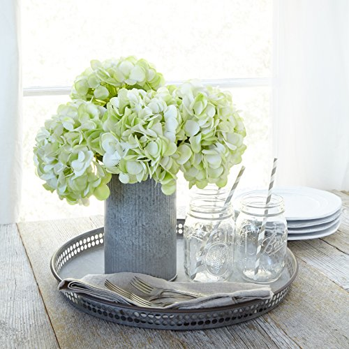 Hydrangea Centerpiece (Butterfly Craze Artificial Hydrangea Silk Flowers for Wedding Bouquet, Flower Arrangements - Green Color, 5 stems Per Bundle)