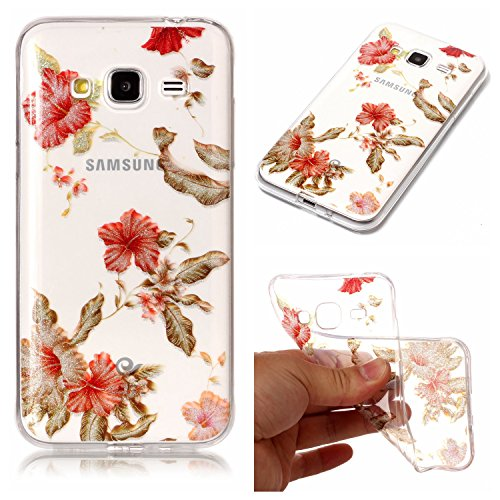 (Leecase Pretty Shiny Sparkly Red Azalea Pattern Design Ultra Thin Flexible TPU Soft Transparent Clear Rubber Bumper Case Cover for Samsung Galaxy J3 2016)