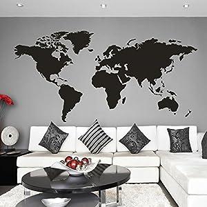 Mapa del mundo de vinilo adhesivo para pared, de MairGwall, vinilo, negro, 32″h x64″w
