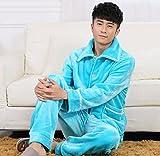 LJ&L Thicker flannel couples comfortable home service suit breathable bathrobe pajamas,Men,XL