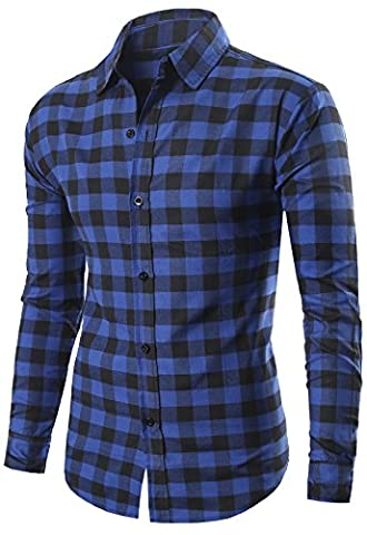 MIEDEON Men's 100% Cotton Long Sleeve Plaid Slim Fit Button Down Dress Shirt - Button Down Plaid Dress Shirt