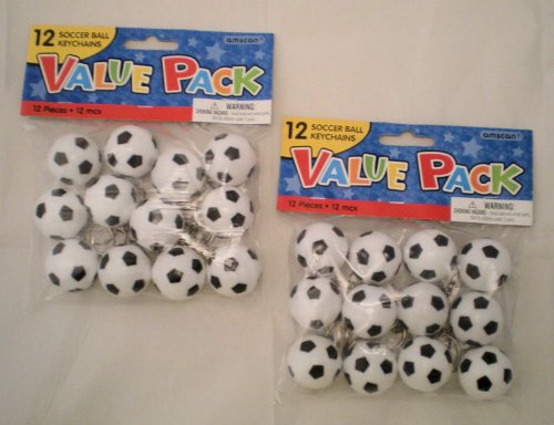 Lot of 24 Soccer Ball Keychains Party Favors - Oriental Soccer Ball