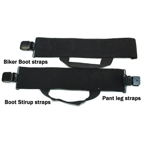 Hold-Ups Biker Stirrups or Boot Straps w/ Patented No-slip Jumbo Black Metal Clips by Hold-Up Suspender Co. (Image #2)