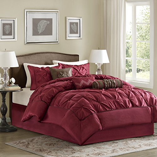 Madison Park Laurel 7 Piece Comforter Set, Queen, Red Red Queen Comforter
