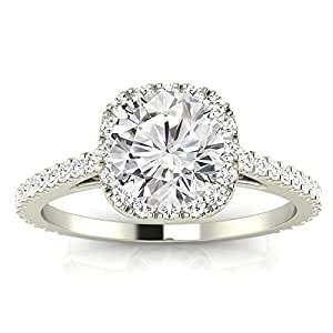 2.35 Cttw 14K White Gold Round Cut Gorgeous Classic Cushion Halo Style Diamond Engagement Ring with a 2 Carat J-K Color SI2-I1 Clarity Center