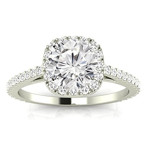 14K White Gold 3.35 CTW Gorgeous Classic Cushion Halo Style Diamond Engagement Ring w/ 3 Ct GIA Certified Round Cut I Color SI1 Clarity Center