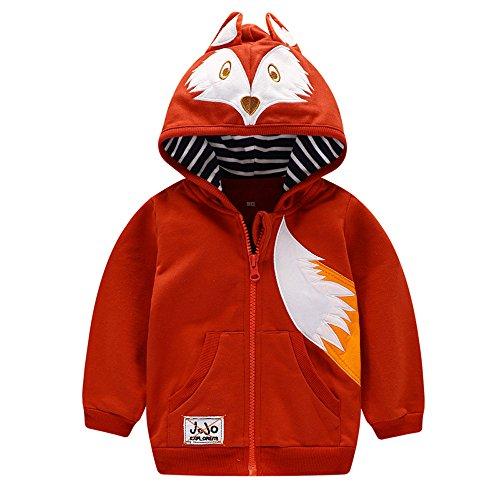 HUAER& Baby Boys' Cotton Cartoon Fox Zip Front Jacket Hoodie Sweatshirt (2-3T(height90-100cm/34-38inch), V0064)]()