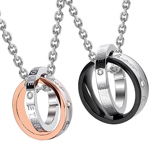 (Urban Jewelry Stunning His & Hers Couples Forever Love Eternal Love Rings Pendant Necklace 19
