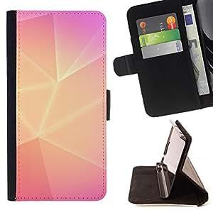 - polygon yellow pink lines purple clean - - Prima caja de la PU billetera de cuero con ranuras para tarjetas, efectivo desmontable correa para l Funny HouseFOR Sony Xperia M2