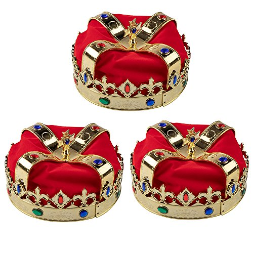 Gold Crown - 3-Pack Royal King and Queen Jeweled Costume Accessories, Adult Party Hats for Halloween, Dress-Up, Birthday Events, 7.2 x 7.2 x 5.1 Inches -