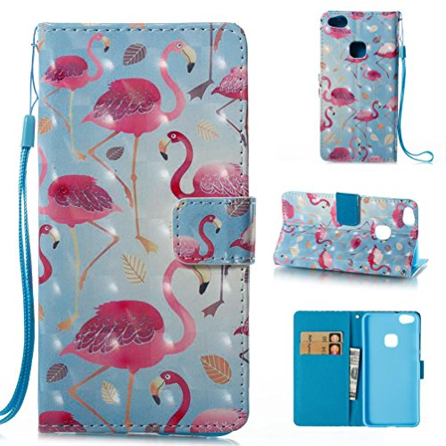 Firefish Huawei P10 Lite Case  Lightweight Wallet Cover  Folio Style  Book Leather Case Wallet Case Full Body Protective Cover Wallet Case Card Slot Holder Cover For Huawei P10 Lite Blue Flamingo