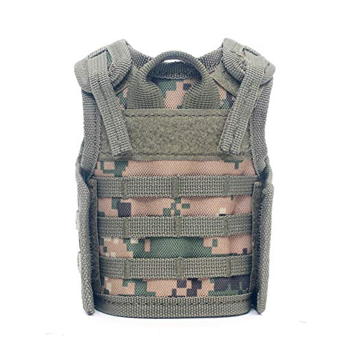 Sizet Mini Beer Vest Military Bottle Beverage Cooler Holder Inspired by Military MOLLE Tactical Vests for 12oz or 16oz Cans or - Inspired Vest Military