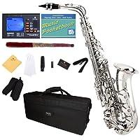 Mendini por Cecilio MAS-N + 92D + PB Saxofón bañado en níquel E Alto con afinador, estuche, boquilla, 10 cañas y más