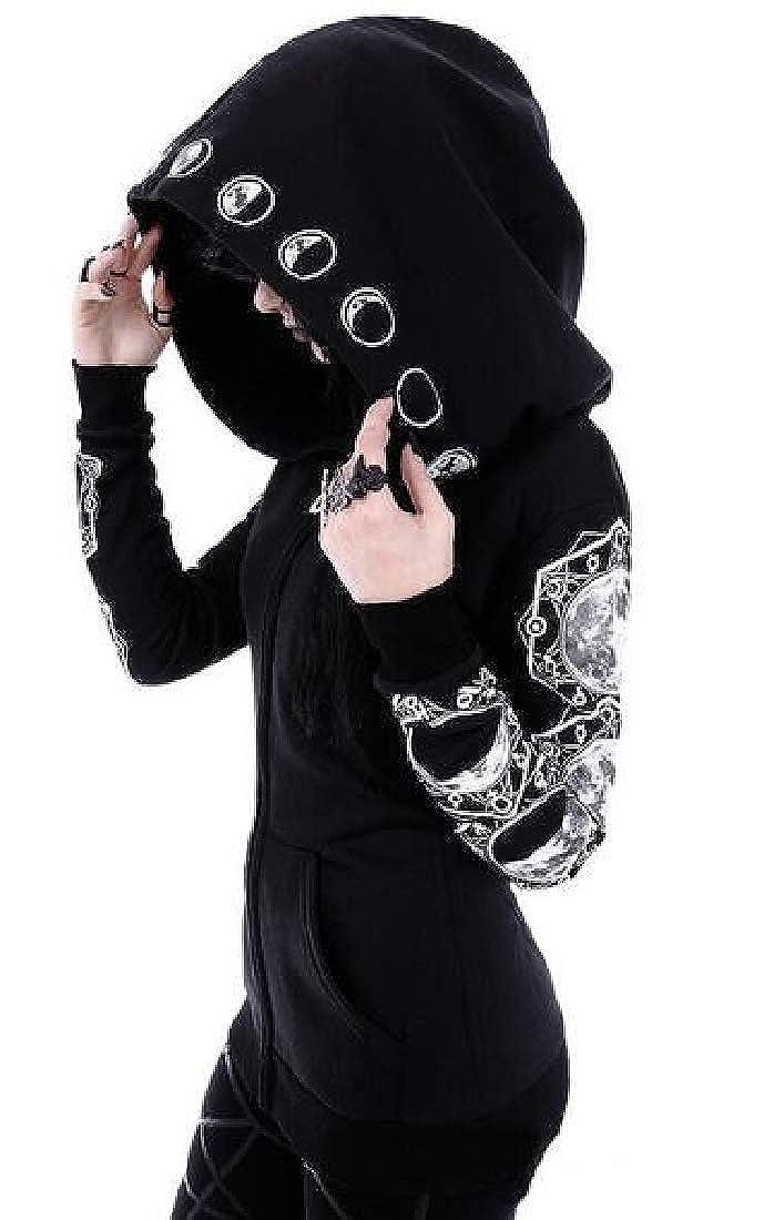 pipigo Womens Print Punk Zip Up Plus Size Hoodie Hooded Sweatshirt Coat Jacket