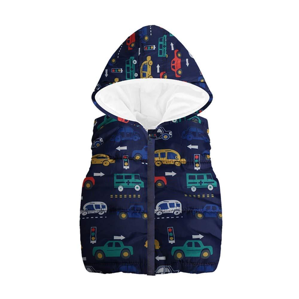 ASHOP Niño Niña Impermeable Abrigo Calentito Chaquetas Deportivas Chaleco Caliente con Capucha y Estampado de Coches Ropa De Otoño Invierno para 1-6 Años