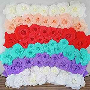 "BalsaCircle 4 pcs 12"" Wide Artificial Large Roses Flowers Wall Backdrop Party Wedding Decorations 18"