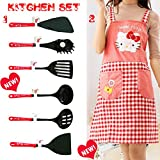 Great HouseWarming Gifts for Kitchen - Sanrio Japan Hello Kitty Silicone Home Cooking Utensils Set of 7 Red Series: Spatula, Pasta fork, Turning Spatula, Ladle, Draining Spoon,Turner and Arpon