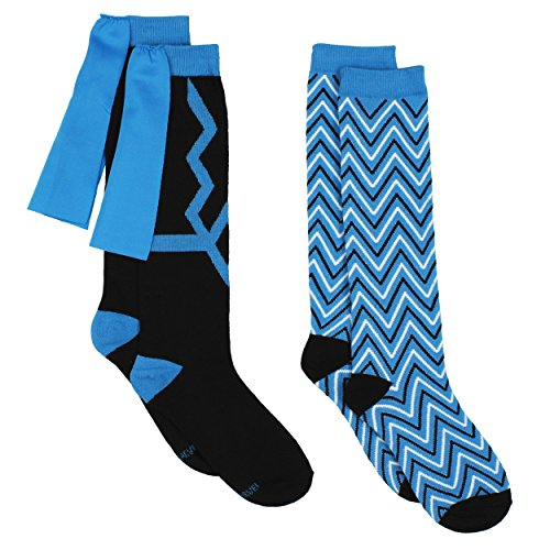 Black Bolt Superhero Womens Novelty Costume 2 pack Knee High Socks (9-11 Womens (Shoe: 4-10), Black Bolt Blue/Black) -