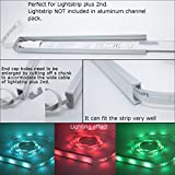 Litever LED Strip Aluminum Channels Super Wide, for Mounting Max 18mm Width 2835 5050 LED Strip,1 Meter/3.3 FT Aluminum Channels with Diffused PC Cover, End Caps, Mounting Clips-LL-007-W-[6