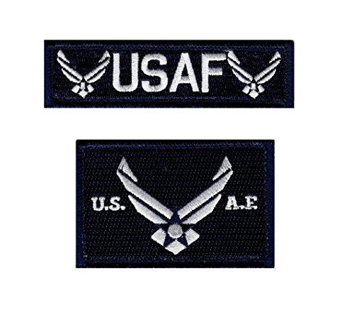 (Air Force Logo Name Tag USAF Military Tactical Morale Hook Patch (Bundle-Drk Navy))