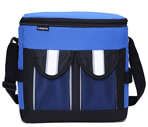 MIER 30Cans Collapsible Soft Cooler Bag Insulated Picnic Lunch Bag for Adult, Men, Women, Leakproof Liner, Blue, Large by MIER (Image #2)