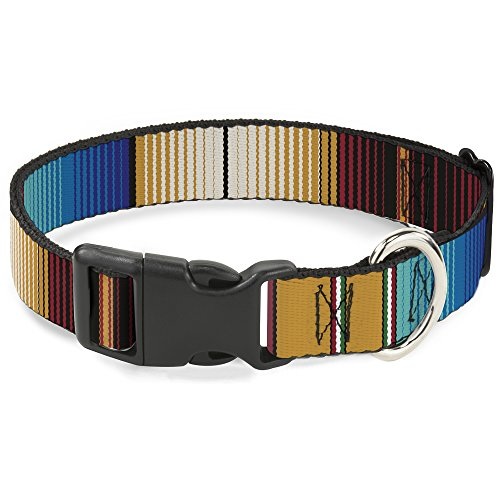 Cat Collar Breakaway Zarape6 Vertical Stripe Gold Blues Black Red 8 to 12 Inches 0.5 Inch Wide ()