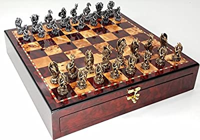 "Dragon Fantasy Pewter Metal Chess Set W/ 17"" Gloss Cherry Color Storage Board"