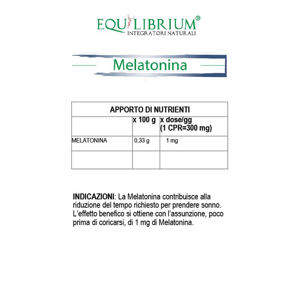 EQUILIBRIUM - INTEGRATORI NATURALI Melatonina 60 tabletas de 300 mg: Amazon.es: Salud y cuidado personal