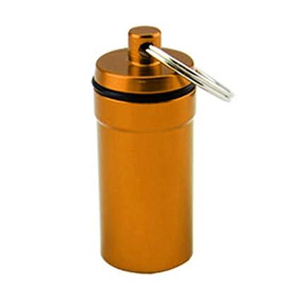 Nuohuilekeji Portátil Viaje Mini Impermeable Medicina Pastillero Caja Llavero Llavero Llavero Bolsa Decor, Naranja