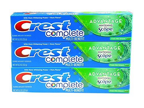 (Crest Complete Multi-Benefit With Extra Advantage Whitening Plus Scope Toothpaste - Fresh Mint Striped 8.2oz (Pack of)
