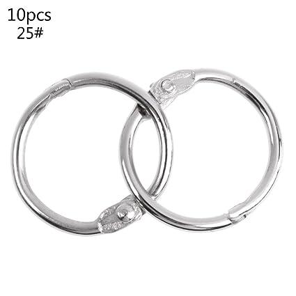 Manyo anillos metálicos anillos articules hoja libro carpeta aro anillo multifuncional Trousseau círculo álbum tuercas provisiones, color plata 25#