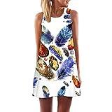 Bokeley Womens Dress Summer O-Neck Vintage Boho Sleeveless Floral Printed Beach Mini Dress Casual T-Shirt Short Dress (2XL, Blue)