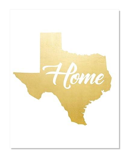 Amazon com: Texas Map Gold Foil Print Poster Handmade